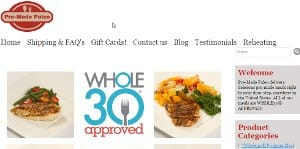screenshot of the Pre-made Paleo home page, they offer a large selection for those looking to buy diet food online