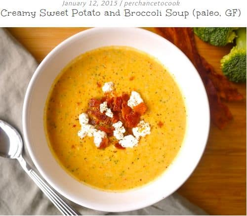 Creamy Sweet Potato and Broccoli Soup from Perchance to Cook - cream broccoli soup, Sweet Potato