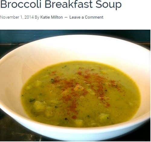 Broccoli Breakfast Soup from the Ultimate Paleo Guide - Bone Broth, frozen broccoli, coconut free