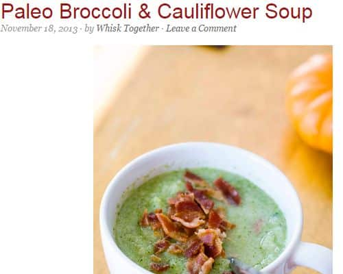 Paleo Broccoli & Cauliflower Soup by Whisk Together - Cauliflower, Microwave, Roasted Garlic