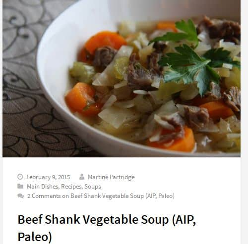 Beef Shank Vegetable Soup from The Paleo Partridge – AIP, Paleo Vegetable Beef Soup, Pressure Cooker