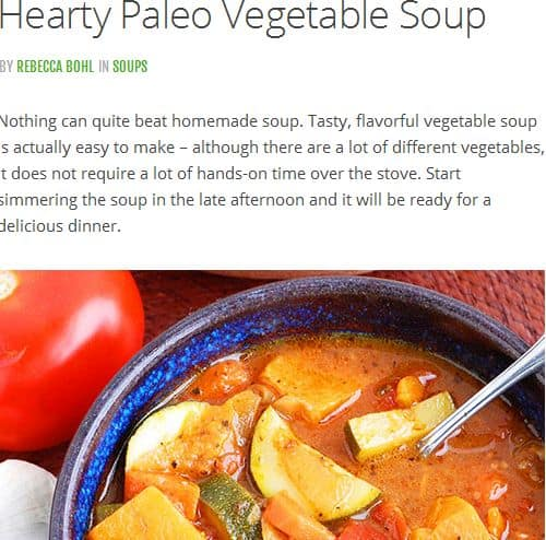 Hearty Paleo Vegetable Soup from Paleo Grubs – Paleo Vegan, Frozen Vegetables (Option), Sweet Potato, Tomato Base