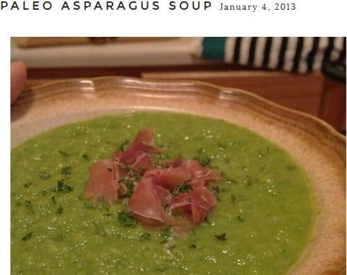 Paleo Asparagus Soup from Worthy Pause – Frozen Asparagus, Spicy, Prosciutto, Chicken Broth