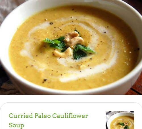 Curried Paleo Cauliflower Soup from Paleo Grubs - Roasted, Chicken Stock, Curry