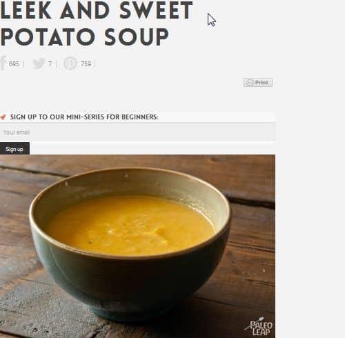 Leek and Sweet Potato Soup from PaleoLeap - Sweet Potato, Simple, Cumin