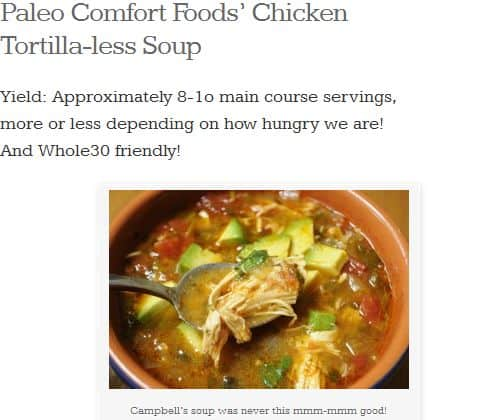 Chicken Tortilla-less Soup from Paleo Comfort Foods - Chicken, Chicken Broth