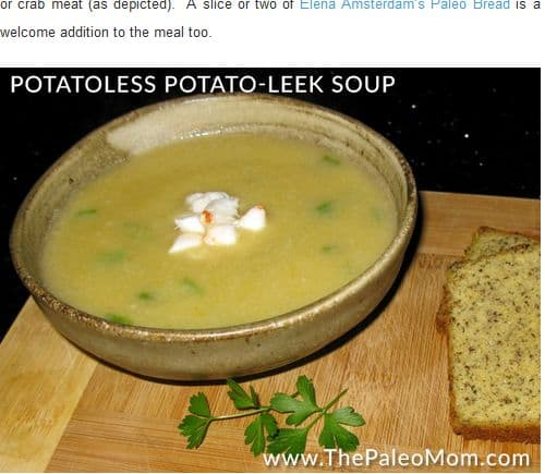 Potatoless Potato Leek Soup from the Paleo Mom - Bone Broth, Creamy