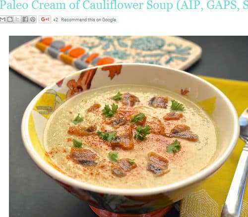 Paleo Cream of Cauliflower Soup from Pure and Simple Nourishment - AIP/SCD/GAPS Friendly, Bone Broth, Bacon