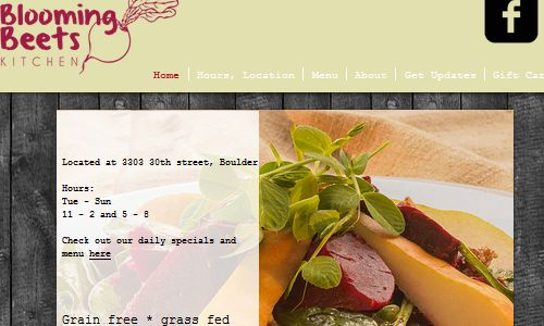 Screenshot of Blooming Beets Website - A restaurant offering a fully paleo menu in the greater Denver Colorado area, Paleo events and other grain free, gluten free, dairy free dining options - blooming beets, a great paleo restaurant boulder option for eating out. Checking out Blooming Beets Kitchen is a must for anyone trying to find boulder paleo restaurants.