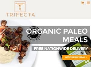 Screenshot of the Trifecta Nutrition Home page - a company offering organic paleo meal delivery services nationwide, delivery fresh non-frozen gluten free, grain free, sugar free meals to your door. The company is partnered with Dr Lauren Cordain, father of the Paleo diet. Look below for the paleo diet delivered reviews of the Trifecta plans.