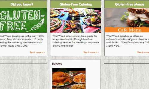 Screenshot of the Wild Wood Bakehouse home page - an Austin restaurant with a 100% gluten free kitchen, is also a good place to consider for those following the paleo diet - as there are several menu items that are easy to adapt for the requirement of the paleo diet
