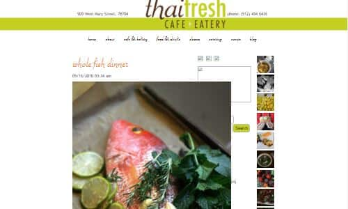 Screenshot of Thai Fresh, a Thai Restaurant in Austin with a mostly gluten free menu and which sources local antibiotic free meats, making it a good option on the Paleo Diet