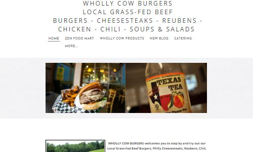 Screenshot - Wholly Cow Burgers home page - a burger joint with grass fed, hormone free, grass finished burgers, offered on a portabello bun for paleo/primal eaters