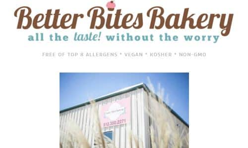Screenshot of Better Bites Bakery Home page - a bakery in Austin specializing in gluten free baked goods for those with special allergy needs