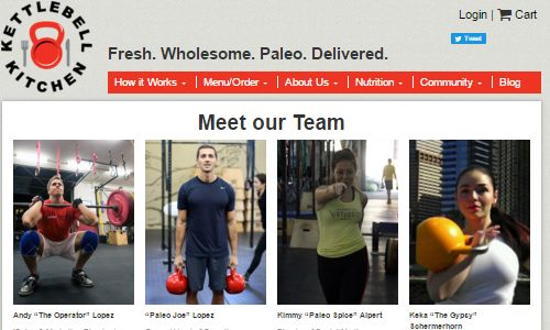Screenshot of the Kettlebell Kitchen website - Kettlebell Kitchen is a paleo nyc food delivery service focusing on athletes and those maintaining a paleo diet. Initially targetted at those in the NYC crossfit community, this gluten free nyc organic food delivery service offers grass fed, locally sourced and organic meals. If you are looking for paleo meal delivery nyc options, look no further than Kettlebell Kitchen