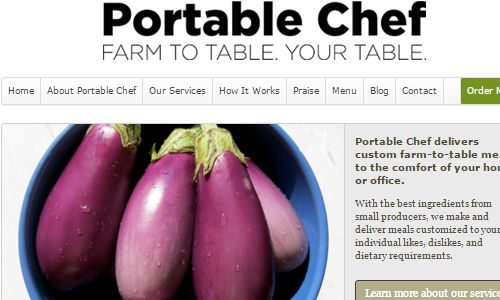 Screenshot of the Portable Chef NYC home page - The portable chef is a local NYC chef offering food delivery services in the tri state area. He has an understanding of paleo princiiples, mentioning them frequently on his website and within recipes, but will customize your meal delivery to fit whatever food requirements you may have, such as paleo vegan, paleo vegetarian, AIP, Wahls, dairy allergies, gluten allergies, egg allergies, gluten sensitivity, nightshade sensitivities, nut allergies, you get the idea. If you are looking for organic meal delivery nyc choices or paleo meals nyc options or gluten free nyc customized meals, the portable chef is your man. That said, totally customized and delivered food is not cheap as it doesn't have the economies of scale of the paleo food delivery businesses listed below, so this option probably makes the most sense for those with really specialized food requirements and restrictions.