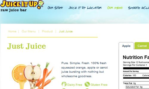 Screenshot of Juice It Up Website - A look at fast paleo juice options at Juice It Up on the west coast - a raw fresh pressed juice bar