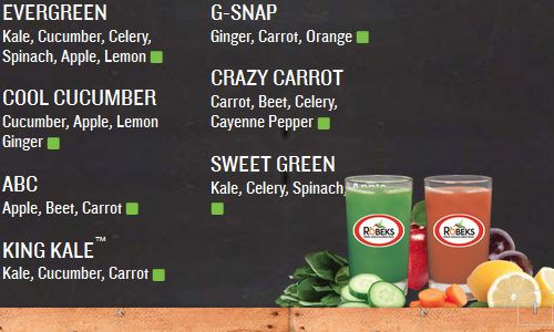 Screenshot of the Robeks Home Page - Another option for paleo fastfood fresh pressed juice on the west coast