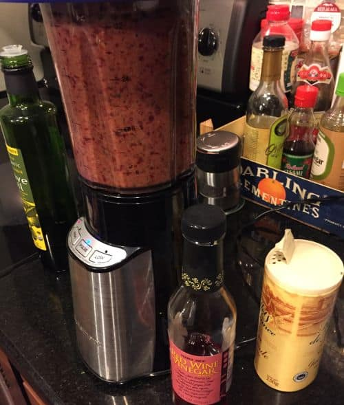 blended beet gazpacho paleo soup - This is the after image. As you can see we often use high quality sea salt, organic olive oil and use wine vinegar as a substitute for sherry vinegar in gazpacho we make