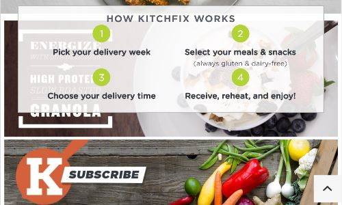 Screenshot of the Kitchfix Chicago home page, a healthy meal delivery Chicago service that offers Chicago meal delivery. If you are considering organic food delivery Chicago options, Kitchfix is worth considering.