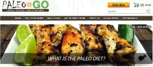 Screenshot of the Paleo on the Go home page - With thier strict 30 meal plan offerings, Paleo on the Go technically would work as a Whole30 food delivery service choice. Sourcing the majority of their ingredients from farms they know and trust, they also follow the spirit required for a Whole30 meal service. If you are looking for Whole30 home delivery, Paleo on the Go has you covered with their nationwide express delivery straight to your door, giving you a great option for Whole30 compliant meal delivery.