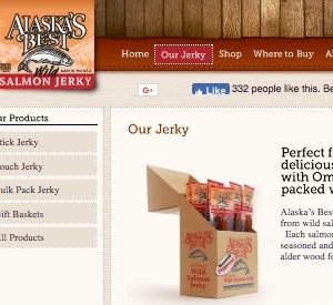 Screenshot of the Alaska's Best website - The alaska's best salmon jerky is quite popular, likely due to it being a wild salmon product sourced exclusively in Alaska, which tends to have sustainable fishing. If you are in the market for dehydrated fish jerky, Alaska's best is one readily available option.