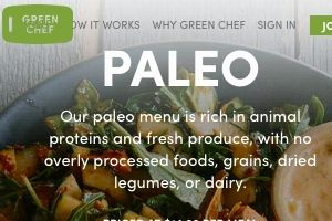 Screenshot of the Green Chef Paleo page -  The Green Chef offers organic food online delivery with their organic meal kits