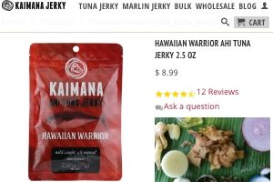 Screenshot of the Kaimana Jerky homepage - They are a good company to look into when looking for Paleo Tuna Jerky options. With their kaimana ahi tuna jerky products, Kaimana Jerky is a good candidate for your short list. Our article covers several tuna dry fish options.