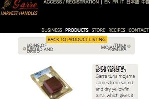 Screenshot of the Salazones Garre homepage - This is Salazones Garre , one of the companies we have found that appear to have some Air Dried Tuna offerings. We cover many spanish dried tuna options to give insight into your buying decision. Hopefully we will outline the best packaged tuna options in this guide.