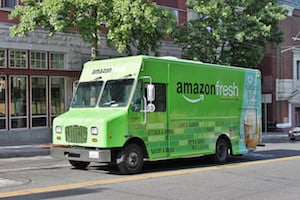 "Photo of an Amazon Fresh grocery delivery truck - Amazon Fresh also answers the question ""where can I buy Paleo food"" for those in the cities that amazon fresh currently services through their dedicated Paleo store"