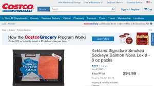 Screenshot of the Kirkland Signature homepage - Our list of the smoked salmon healthy options on the market, With several native american smoked salmon options, Kirkland Signature is a great company to know about With several smoked wild sockeye salmon options, Kirkland Signature is a great company to know about