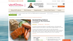 Screenshot of the Vital Choice homepage - Vital Choice specializes in wholesome foods like smoked salmon without sugar options. some coho smoked salmon brands compared, there are a number of brands of taste of the wild salmon,