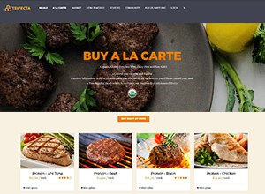 Screenshot of the Trifecta Nutrition A La Carte for Keto page - a company offering organic paleo meal delivery services nationwide, delivery fresh non-frozen gluten free, grain free, sugar free meals to your door. The company is partnered with Dr Lauren Cordain, father of the Paleo diet. Look below for the paleo diet delivered reviews of the Trifecta plans.