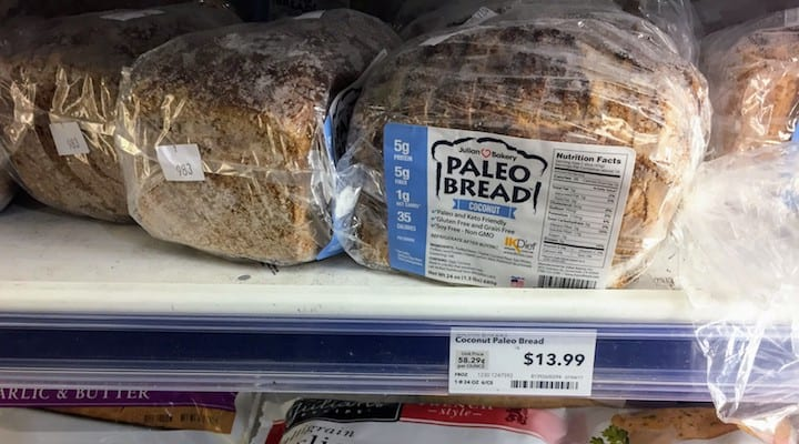 Photo of Paleo Sandwich Bread Brands in grocery store - this article covers a number of prepackaged off the shelf brands. BaseCulture specializes in wholesome foods like paleo sandwich bread coconut flour options. They offer some viable coconut sandwich bread products. In this article, we cover products that provide dairy free sandwich bread options from companies like Mikey's. With their vegan gluten free sandwich bread products, Great Low Carb Bread is a good candidate for your short list.