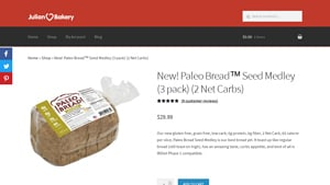 Screenshot of the Julian Bakery homepage - If you are in the market for Other Grainless Bread Brands products, Julian Bakery is worth checking out. For those seeking grain free bread brands products, we have you covered. Julian Bakery offers no grain bread options,
