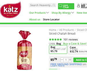 Screenshot of the Katz Gluten Free homepage - Luckily Gluten Free Tapioca Bread options are currently available. Do you wish you could find more tapioca bread options that you know of currently? Keep reading for a whole list from great companies like Katz Gluten Free. We like to showcase firms like Katz Gluten Free that offer Paleo eaters and others cassava flour pizza crust options.