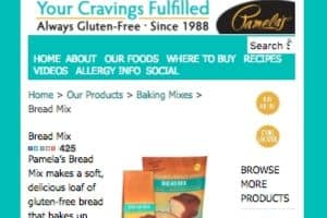 Screenshot of the Pamela's Products homepage - finding gluten free bread mix products is no longer a challenge. Pamela's Products tends to offer at least one gluten free bread machine mix option. gluten free bread flour mix brands, including those from Pamela's Products.