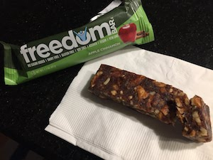Photo of an unwrapped Freedom Bar - we compare the new mostly organic Freedom Bar to the organic Larabar options