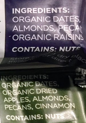 closeup photo of the ingredients in Freedom Bars, a Larabar competitor - This article both covers paleo approved larabars as well as discusses the lowest sugar larabar currently in the Whole30 range of larabar products. If you are on the lookout for the larabar with least sugar added to it, you might also want to look seriously at the Freedom Bars.