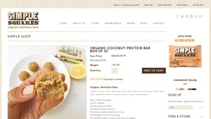 Screenshot of the Simple Squares homepage - For those seeking paleo granola bar brands products, we have you covered. Living this lifestyle, it's helpful to know about companies like Simple Squares which offer paleo diet bars whole foods offerings. there are a number of brands of julian paleo bars.